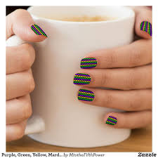 Minx Toes Designs Purple Green Yellow Mardi Gras Beads Minx Nail Art
