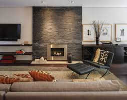 floating shelves fireplace contemporary