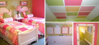 Room For Two Girls In Green Pink Light Color Scale Modern Interior