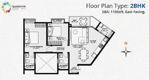 1 bhk 895 sqft floor plan