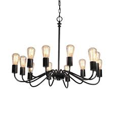 artcraft lighting 29 5 in 12 light black vintage candle chandelier ac10432bk