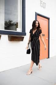 loft wrap dress. conference etiquette, loft black striped dress, wrap dallas fashion blog dress