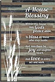 With a brown background and gray text, this gorgeous, sophisticated piece is perfect for placing in your entryway, over a door, or above a large piece of artwork. Amazon Com House Blessing Rustic Wood Plaque Easel Hanging Hook 6x9 Inch Vertical Plaques Wall Art Tabletop Decoration For Your Home Or Office A House Blessing Within This