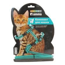 Комплект <b>шлейка и поводок</b> для кошек Гамма, из капрона, 400 ...