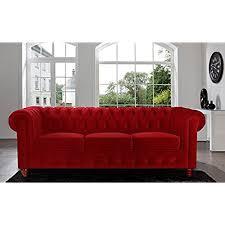 red velvet sofa. Divano Roma Furniture Velvet Scroll Arm Tufted Button Chesterfield Style Sofa, Red Sofa