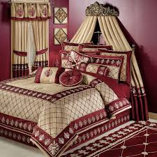 Interior. Cream Maroon Curtains Combined With Bed Having Cream Maroon Comforter  Bedding Set Also Canopy Placed On The Maroon Wall. Mesmerezing Bedroom ...
