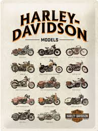 harley bike models 3d metal wall sign