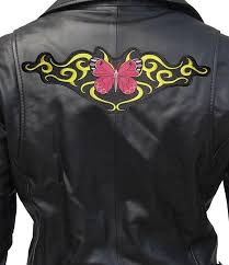 large red erfly with tribal design embroidered biker patch