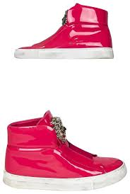 versace pink patent leather medusa high top sneakers