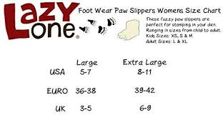 Lazy One Size Chart Bigfoot Paw Animal Paw Slippers For Kids And Adults By
