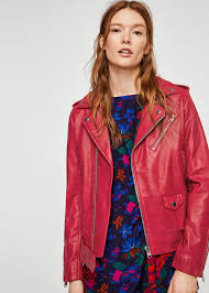 mango leather biker jacket in red save 15 lyst