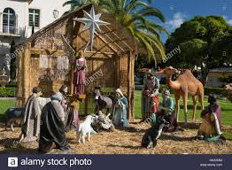 OUTDOOR LIFE SIZE CHRISTMAS NATIVITY SCENE CHURCH OF THE LITTLE FLOWER CORAL GABLES FLORIDA USA
