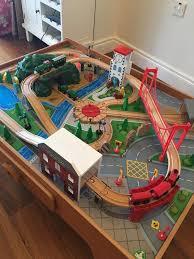 elc wooden train track set table