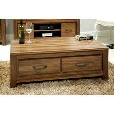 goa walnut low coffee table with four storage drawers