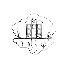 attic clipart black and white. Delighful Black Monochrome Blurred Silhouette Scene Of Natural Landscape And Facade House  Two Floors With Attic Vector With Attic Clipart Black And White L