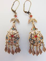 lovely vintage 1970 s bohemian brass glass chandelier earrings 1 of 7 see more