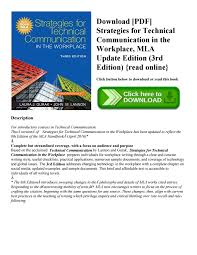 Current Mla Edition Download Pdf Strategies For Technical Communication In The