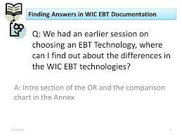 Finding Answers In Wic Ebt Documentation Wednesday July 23