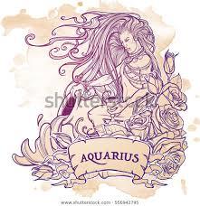 Stock Vektor Zodiac Sign Aquarius Young Man Long Bez Autorských