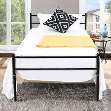 Costway Black Twin Size Metal Bed Frame Platform 6 Legs Headboards Furniture