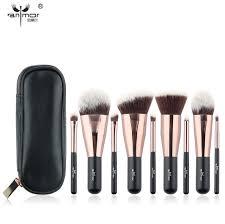 dels about travel 9 pcs makeup brush set synthetic mini makeup brushes case rose gold black