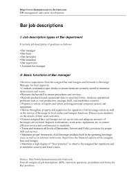 Job Description Of Bartender For Resumertender For Resume Resume