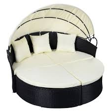 Round Outdoor Bed Outdoor Patio Rattan Round Retractable Canopy Daybed Sunloungers