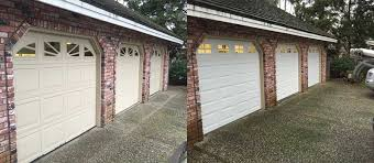 before and after photo of a garage with three one car garage doors and openers