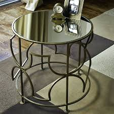 side table mirrored round side table brass plated iron mirrored round sidetable india mirrored circular