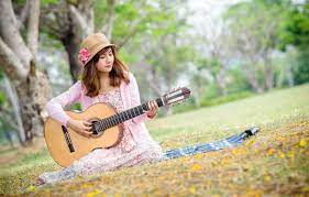 Wallpaper girl, music, guitar images ...