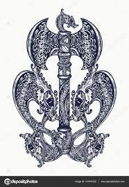 Axe V Keltském Stylu Tetování Umění Thorovo Kladivo Sekera Vikingů