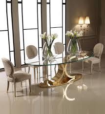 oval glass dining table. Designer 24 Carat Gold Plated Oval Glass Dining Set Table A