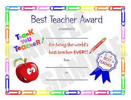 Best Teacher Certificate Templates Free Certificate Best Teacher Kids Certificate Printable Pdf Etsy