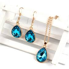1 set rose gold water drop pendant necklace earrings fashion jewelry lake blue malaysia