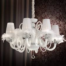 spring chandelier light Ø900mm classic fabric shade white fabrictextile