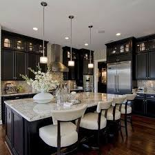 kitchens with black cabinets. Black Cabinets With White Countertops And Chairs, A Huge Kitchen Island. Kitchens