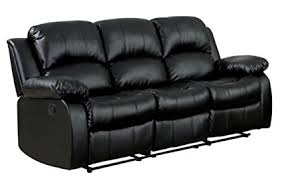 black leather reclining sofa. Homelegance Double Reclining Sofa, Black Bonded Leather Sofa L