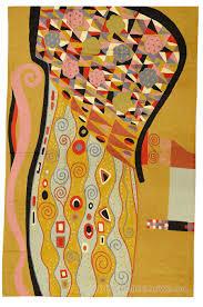 klimt 6ft x 4ft modern mustard wool rug tapestry art nouveau hand embroidered on tapestry art designs wall hangings with klimt rugs tapestry archives kashmir fine arts craftskashmir