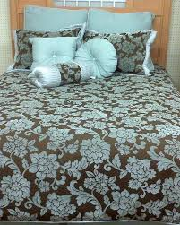 for example a chocolate brown and turquoise bedspread
