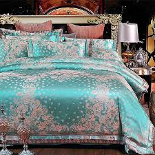 fancy teal and rose gold fl pattern tropical themed abstract exotic jacquard satin full queen size bedding sets
