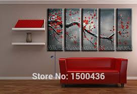 5 piece cherry blossom paint abstract red flower oil handpainted canvas wall art picture painting modern decoration home set in painting calligraphy from  on wall art red with 5 piece cherry blossom paint abstract red flower oil handpainted