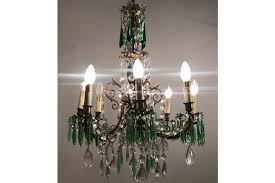 large antique crystal chandelier with green pendants 1 5