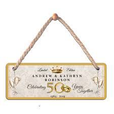 personalised 50th golden wedding anniversary any names hanging plaque n10 gift idea