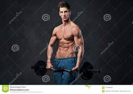 Athletic Shirtless Male Biceps Barbell Workout Stock Image