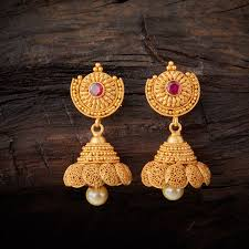 Designer Earrings Online Shopping India Conventional Designed Antique Jhumka Earrings Studded With