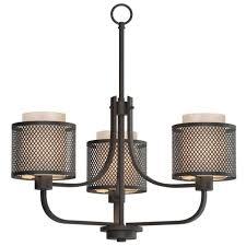 home decorators 17106 3 light bronze mesh chandelier with inner cream shade