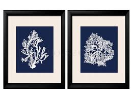 on blue and white wall art with blue coral wall art navy blue coral print navy white wall