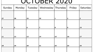 Word 2020 Calendars October 2020 Calendar Pdf Word Excel Printable Template