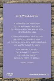 life well lived a collection of non religious funeral poems that help guide us in our grieving curated by memory press creators of beautiful uplifting