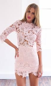 Light Pink Short Tight Dress Light Pink 3 4 Sleeve High Neckline Lace Bodycon Dress